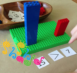 آموزش ریاضی علامت بزرگتر با لگو