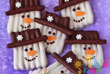 کاردستی آدم برفی با چوب شور شکلاتی