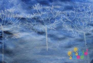 نقاشی زمستان کودکانه با تکنیک نقاشی با مداد شمعی