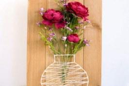 ساخت تابلو گل با میخ و کاموا